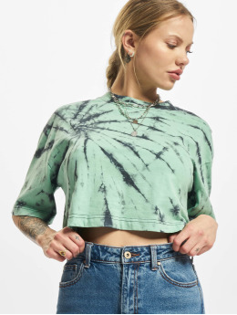 Urban Classics T-Shirty Ladies Oversized Cropped Tie Dye zielony
