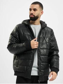 Urban Classics Talvitakit Hooded Faux Leather musta