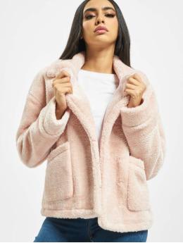 Urban Classics Talvitakit Ladies Oversize Sherpa Lapel roosa