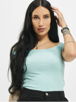 Urban Classics Top Off Shoulder Rib blau