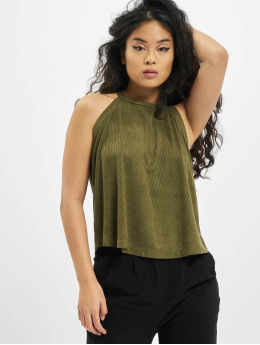 Urban Classics Top Ladies Peached Rib Neckholder olive