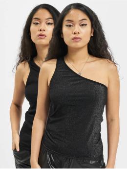 Urban Classics top Ladies Asymetric Lurex Mix zwart