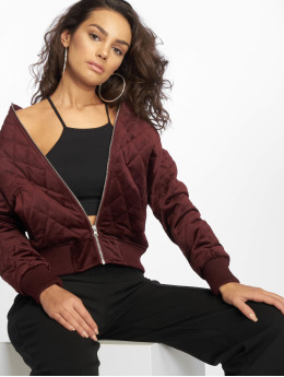 Urban Classics Transitional Jackets Ladies Diamond Quilt Velvet red