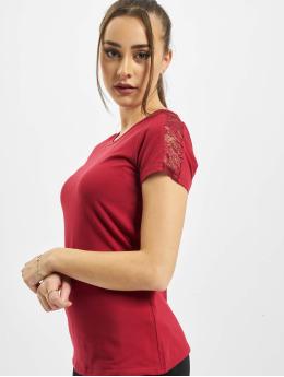 Urban Classics Trika Ladies Lace Shoulder Striped Tee červený