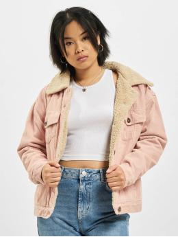 Urban Classics Välikausitakit Oversize Sherpa Corduroy  roosa