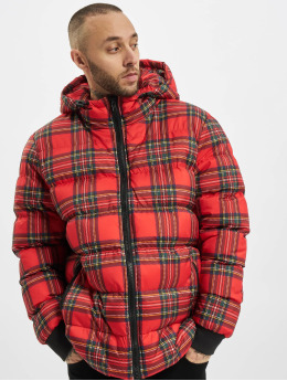 Urban Classics Veste matelassée Hooded Check rouge