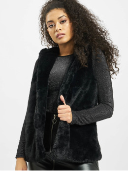 Urban Classics Veste sans manche Ladies Hooded Faux Fur noir
