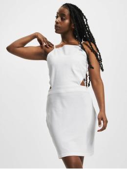 Urban Classics Vestido Short Spaghetti Pique blanco