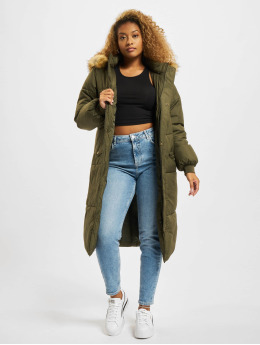 Urban Classics winterjas Oversize Faux Fur olijfgroen