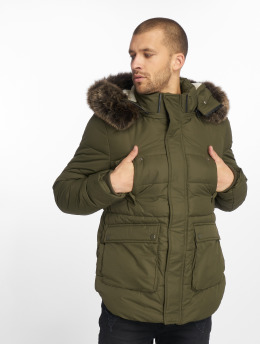 Urban Classics winterjas Faux Fur olijfgroen