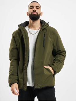 Urban Classics winterjas Hooded Sporty  olijfgroen
