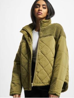 Urban Classics winterjas Ladies Oversized Diamond Quilt  olijfgroen
