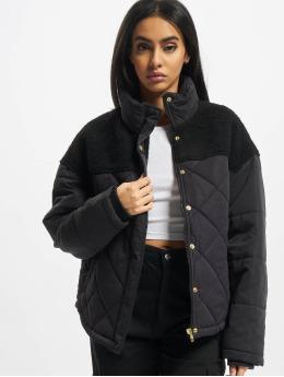 Urban Classics winterjas Ladies Oversized Diamond Quilt zwart