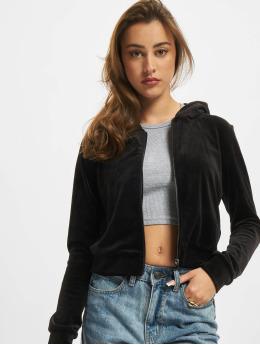 Urban Classics Zip Hoodie Ladies Short Velvet  čern