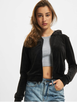 Urban Classics Zip Hoodie Ladies Short Velvet  black