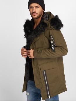 VSCT Clubwear Manteau hiver Zip Decor kaki