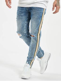 VSCT Clubwear Keanu Racing Stripe Skinny Jeans Blue Stoned