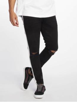 VSCT Clubwear Knox Stripe Skinny Fit Jeans Black Kneecut