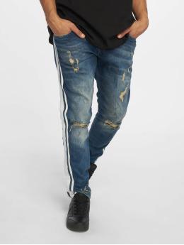 VSCT Clubwear Slim Fit Jeans Knox Bigstripe Kneecut modrý