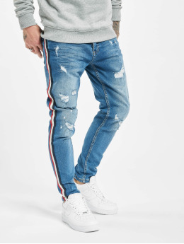 VSCT Clubwear Slim Fit Jeans Keanu Multi Colour Stripe modrý