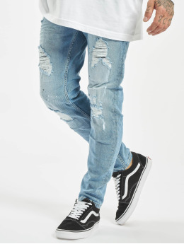 VSCT Clubwear Slim Fit Jeans Thor Bleached Splatter modrý
