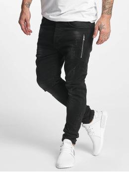 Thor Slim 7 Pocket with Zips Denim Jeans Black Rinsed