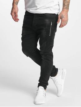 VSCT Clubwear Slim Fit Jeans Thor Slim 7 Pocket Denim with Zips zwart