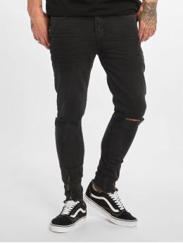 VSCT Clubwear Straight Fit Jeans Keanu Leg Zip svart