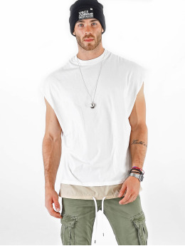 VSCT Clubwear T-Shirt Luxury Double Hem Laces Sleeveless blanc