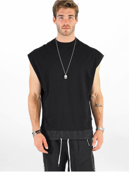 VSCT Clubwear T-Shirt Luxury Double Hem Laces Sleeveless noir