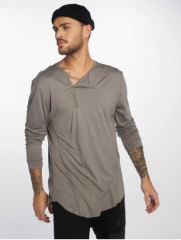 VSCT Clubwear Tričká dlhý rukáv Cut Collar šedá