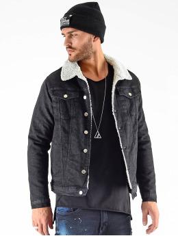 VSCT Clubwear Veste Jean Denim Trucker Sheepcoll noir