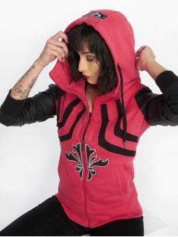 Yakuza Hoodies con zip Lily High Neck Mix Hooded rosa