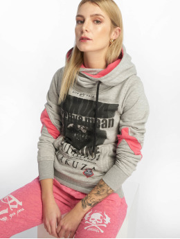 Yakuza Hoody Cocaine Two Face Cross Neck grau