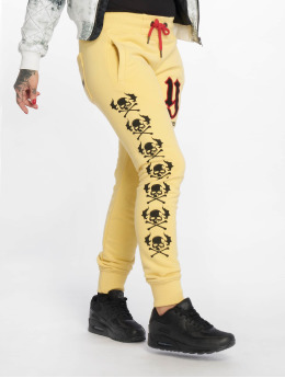 Yakuza joggingbroek Lil Flying Skull geel