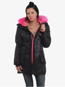 Yakuza Manteau hiver Fire Bird Faux Fur  noir