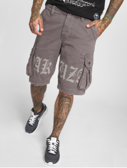 Yakuza Short Skull Label Cargo grey