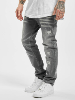 Yakuza Straight Fit Jeans Destroyer  gray