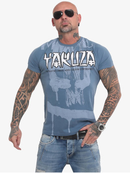 Yakuza T-Shirt Burning Skull  blue