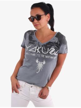 Yakuza T-shirt Gradient Skull Dye V-Neck  grå