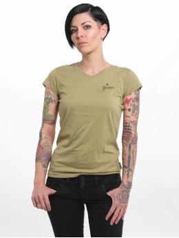 Yakuza T-Shirt Basic Line Script V Neck  grün
