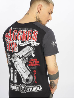 Yakuza T-shirt Aggressive Two Face nero