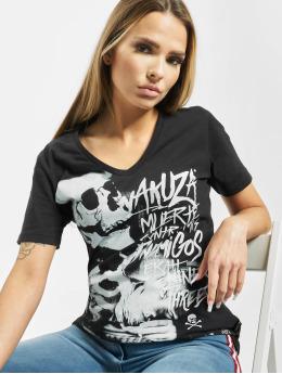 Yakuza T-Shirt Muerte Skull V Neck schwarz