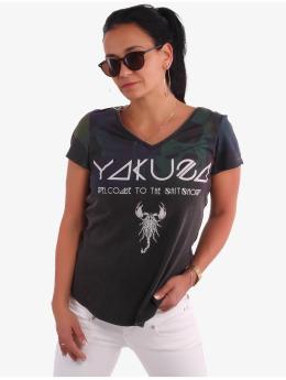 Yakuza T-shirt Gradient Skull Dye V-Neck svart
