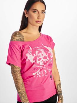 Yakuza T-shirts Flying Skull pink