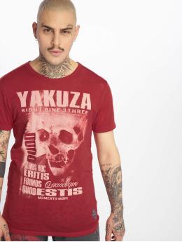 Yakuza T-Shirty Burnout Quod Sumus Hoc Eritis czerwony