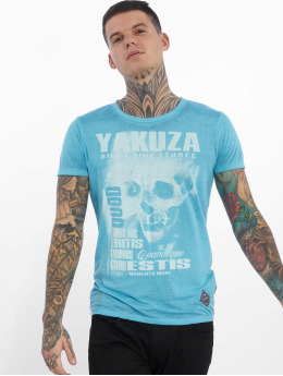 Yakuza T-Shirty Burnout Quod Sumus Hoc Eritis niebieski