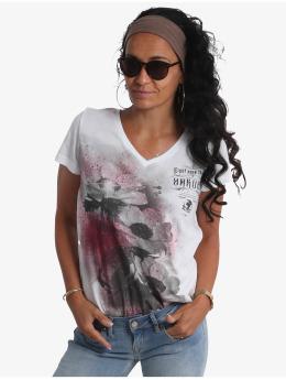 Yakuza T-skjorter Flower Style Dye V-Neck  hvit