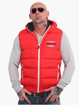 Yakuza Vest Felt Logo V02 Quilted Hooded red