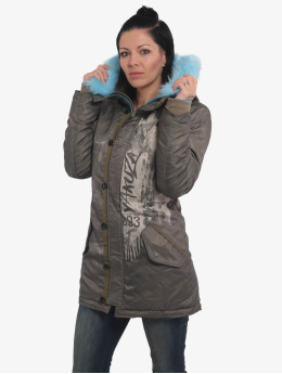 Yakuza Winter Jacket Fire Bird Faux Fur green